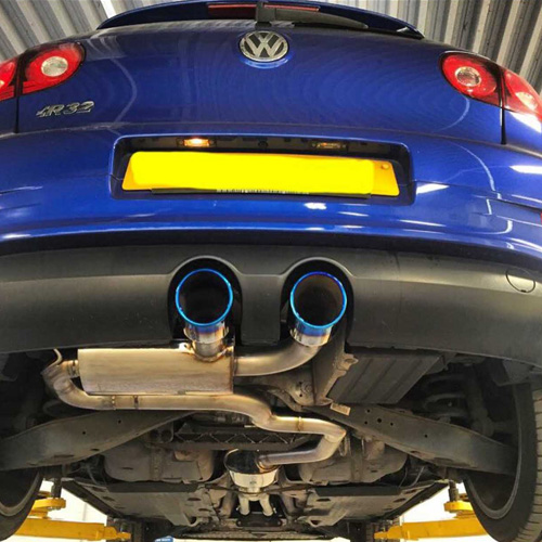 Powerflow exhaust fitted to a blue car